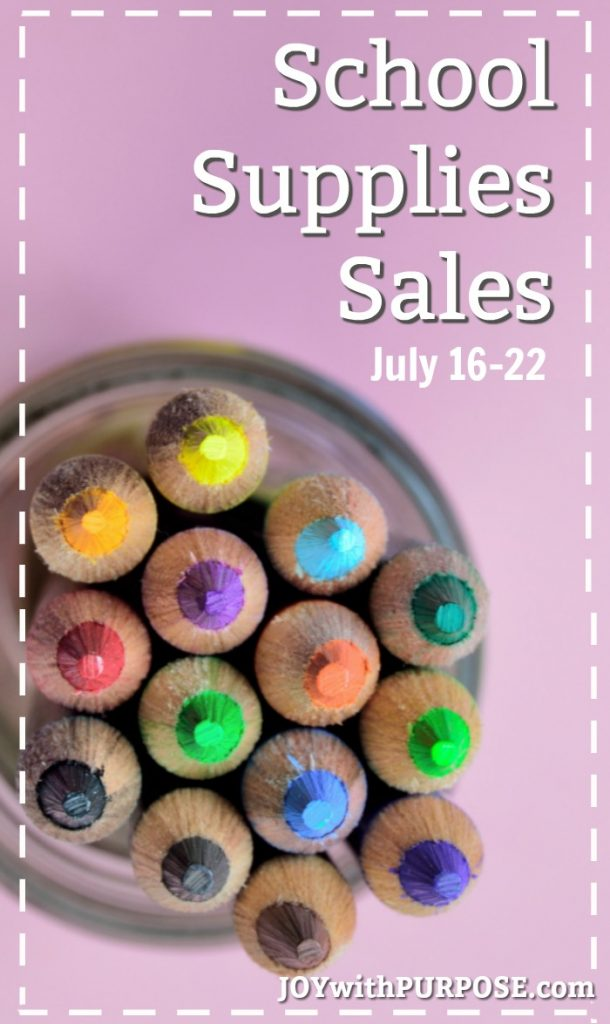 School Supplies Sales for July 16 - 22, 2017