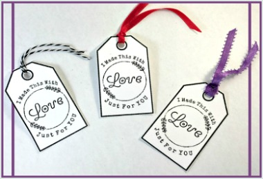 I made this with Love tags Free Printable gift tags