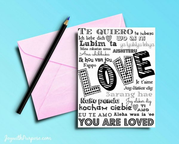 Free Printable Love Cards Love in 20 Languages