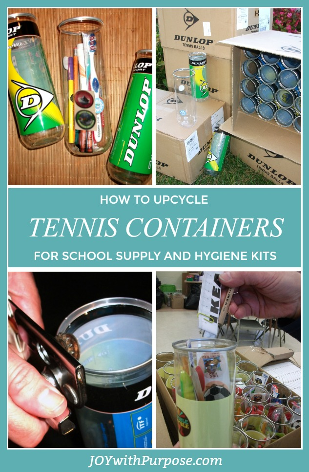 Upcyle Empty Tennis Ball Containers for school supply kits and hygiene kits
