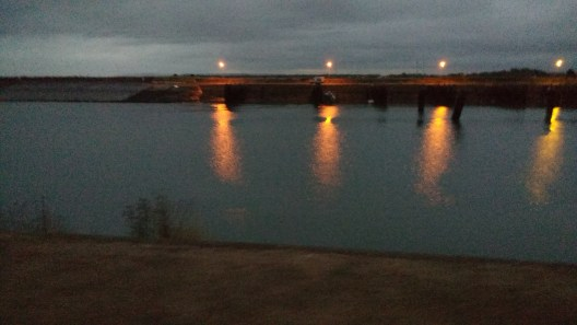 Ouistreham port in the pre-dawn gloom