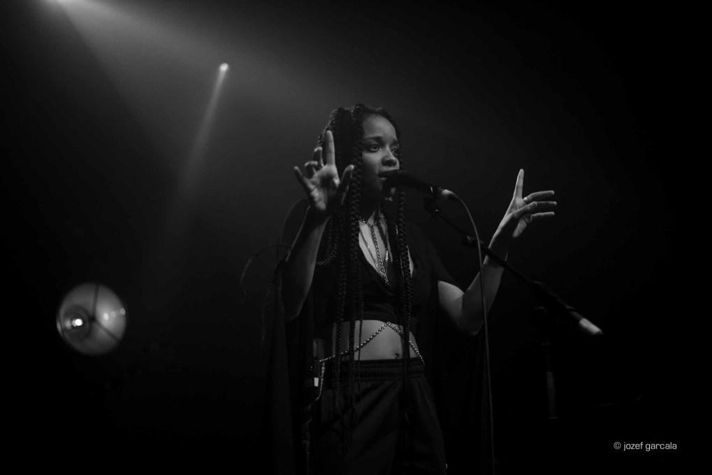 American soul singer Jamila Woods onstage in London