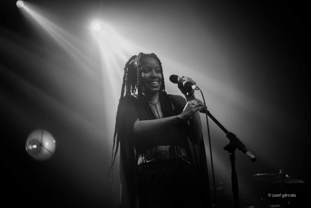 American soul singer Jamila Woods onstage in London
