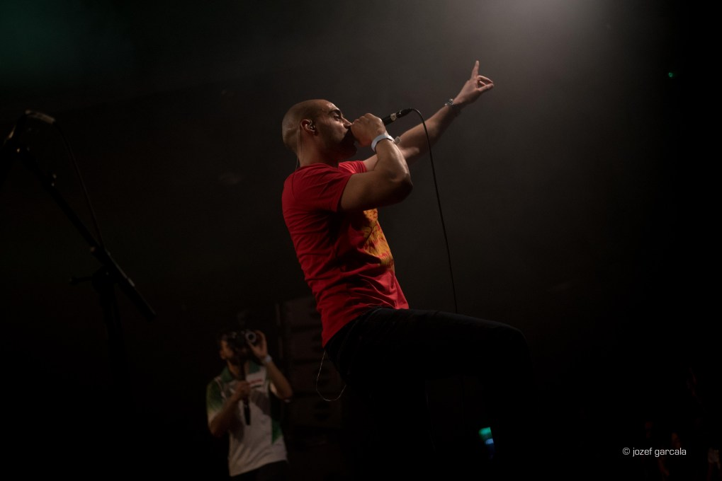 London based rapper and activist Lowkey performing at EartH, London, UK.