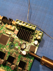Soldering the capacitor to the CR-10S circuit board