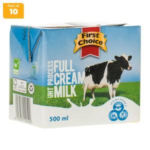 First Choice Long Life Full Cream Milk 500ml x 10