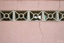 Pink wall with art deco inserts