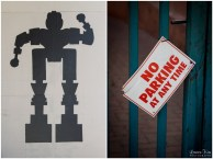 Robot Grafitti and No parking sign