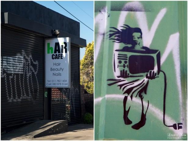 Woman holding tv grafitti