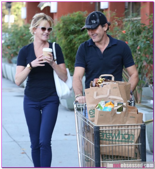 Antonio Banderas and Melanie Griffith Grocery Shopping At Erewhon Market