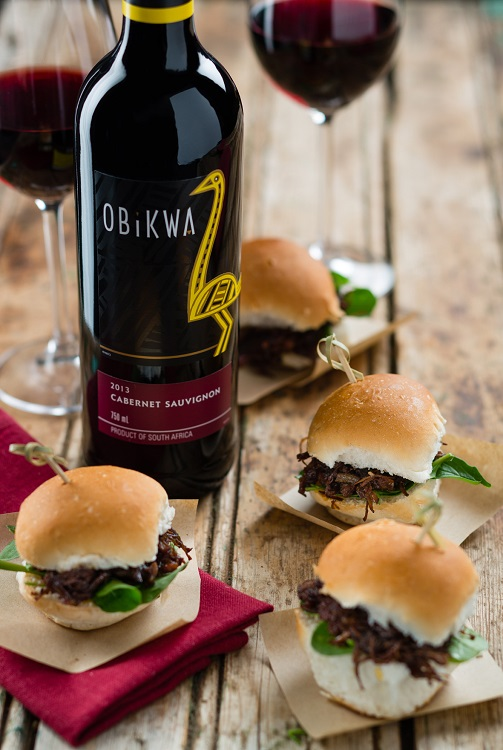 Pulled Beef Sliders paired with OBiKWA Cabernet Sauvignon hr