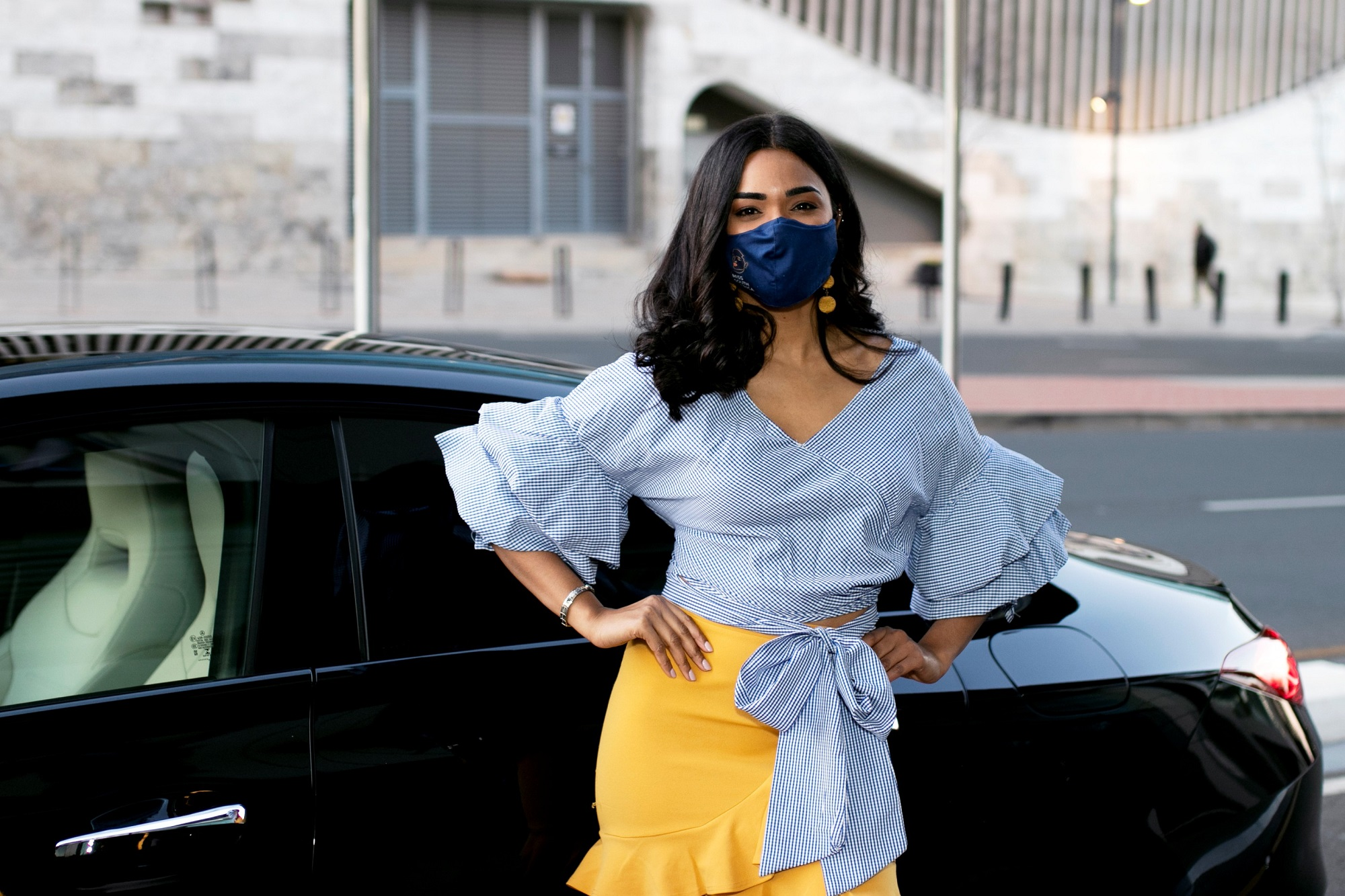 Miss South Africa JoziStyle Edward Chamberlain-Bell Karishma_Ramdev_in_front_of_the_Mercedes_which_the_winner_gets_to_drive_during_year_of_reign