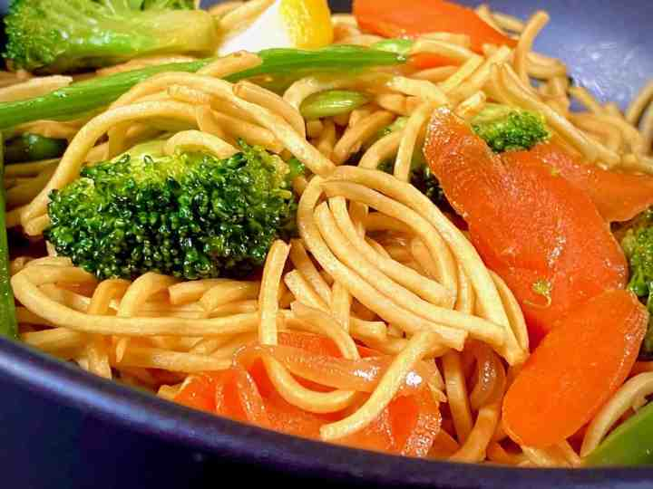 Filipino Vegetable Pancit Noodles with vegetables in a bowl