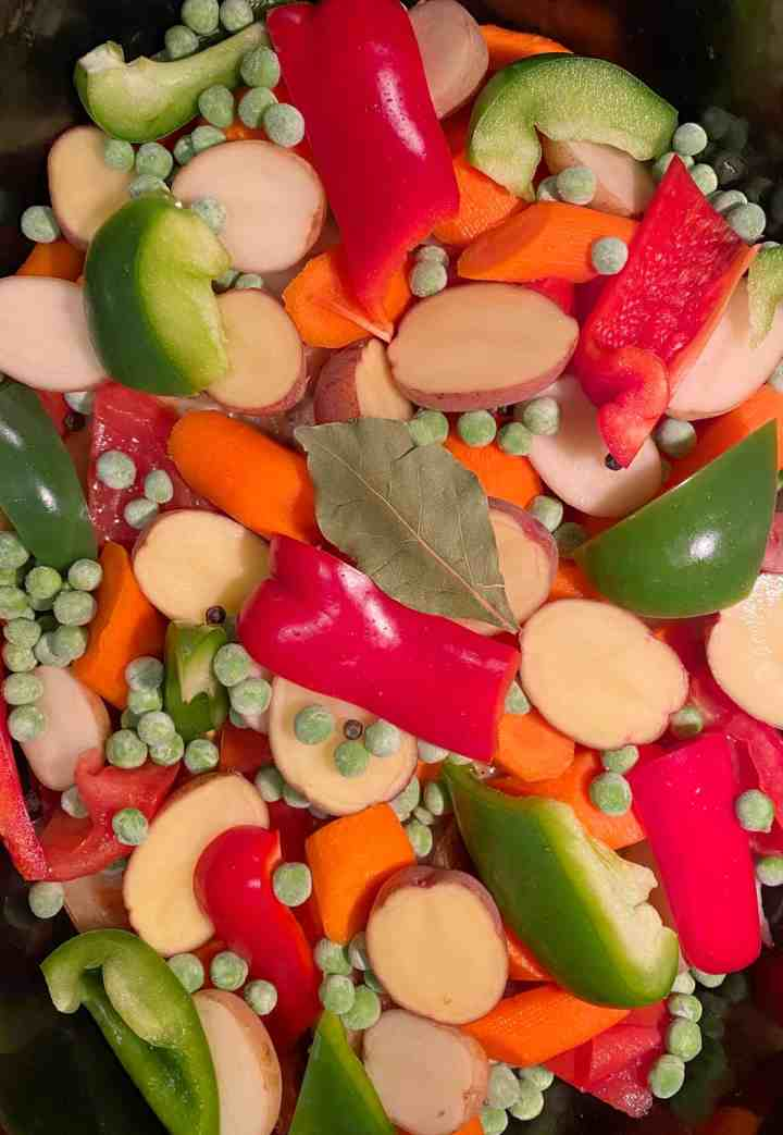 Carrots, Potatoes, Red and Green Belll Peppers and Peas