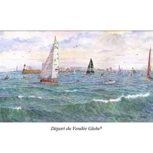 Départ du vendée Globe® au large des Sables d'Olonne - Aquarelle de Jean-Pascal Duboil