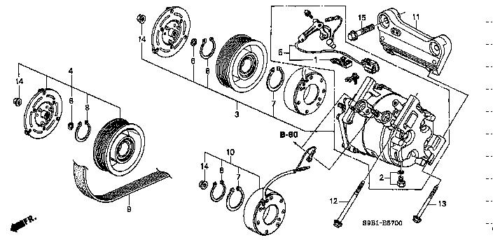 38900-PNB-006 / 38900PNB006 / CLUTCH SET, COMPRESSOR / CR