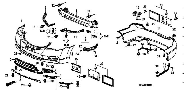 71190-SNB-000 / 71190SNB000 / BEAM COMP.,L. FRONT BUMPER