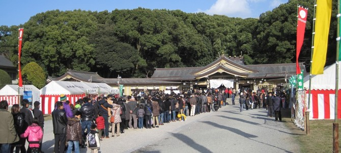 "One of Japan's New Year event ""Hatsumode"" at Fukuoka Gokoku Shrine."