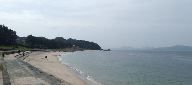 Cycling Around Shikanoshima Island And Enjoying The View Of The Coastline.