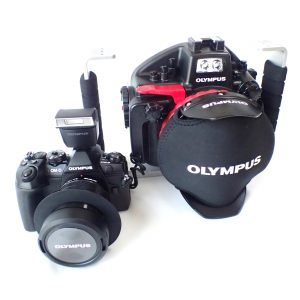 OLYMPUS OM-D E-M1MarkⅡ、防水プロテクター PT-EP14 店頭展示器材