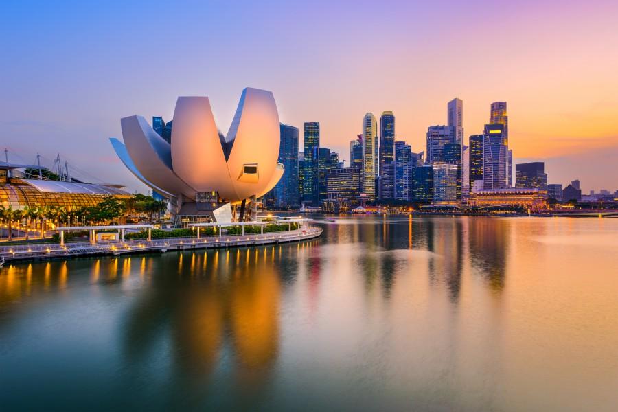 シンガポール夕方の都会景色