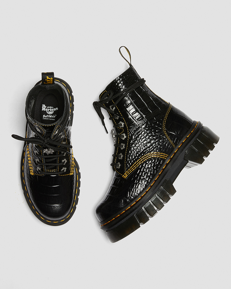 Dr. Martens HEAVEN BY MARC JACOBS AUDRICK 8 ホール ブーツ BLACK ディティール画像3