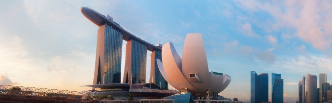 View of Marina Bay Sands Hotel and ArtScience Museum in Daylight