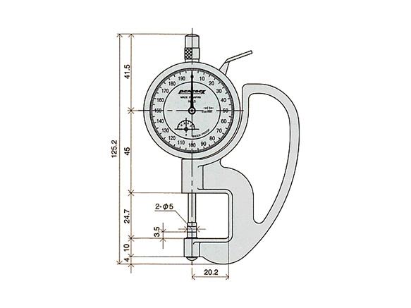ダイヤルシックネスゲージ PEACOCK G-7C /(厚み測定器/) 0.001mmタイプ (尾崎製作所)