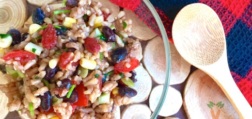 Black and adzuki bean salad title