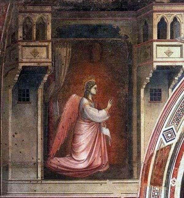 フレスコ畫「受胎告知」を持つ大天使ガブリエルの図 – ジョット