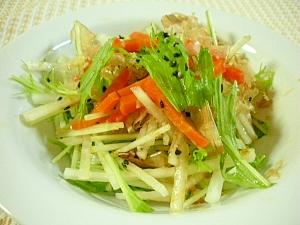 水菜と大根のスダチドレッシングサラダ