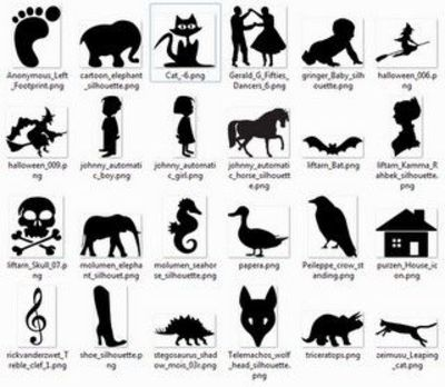 more than 600 free printable silhouette / design concepts