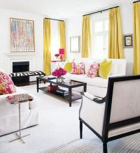Black, white and yellow with pops of pink living room ...