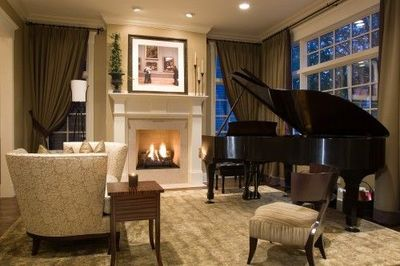 White fireplace and grand piano  For the home  Juxtapost