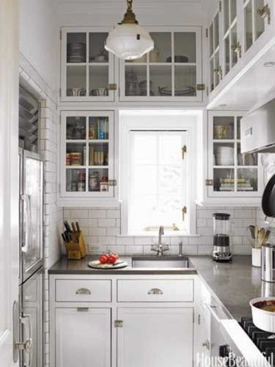 Small Kitchen Glass Front Upper Cabinets Subway Tile