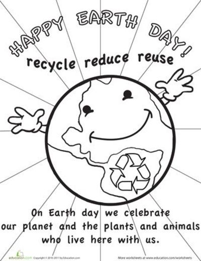 Worksheets: Color the Earth Day Picture / nice signs
