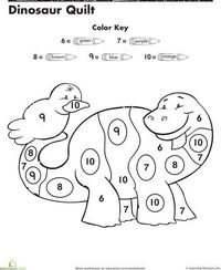 Worksheets: Dinosaur Color By Number / Preschool items