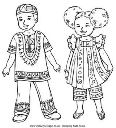 Children from around the world colouring pages / Preschool