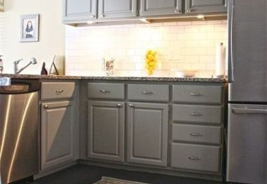 Grey Kitchen Cabinets And Yellow Walls