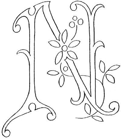 Monogram for Hand Embroidery: The Letter N / christmas