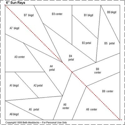 Sun Rays Paper Piecing Quilt Block Pattern / quilting
