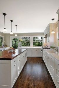 Dark Hardwood Floors: White Kitchen Dark Hardwood Floors