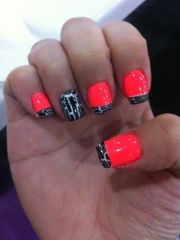 coral and black crackle nails.love