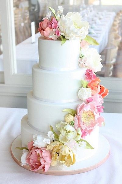 Simple Yet Elegant Cake Design With Cascade Of Sugar Flowers
