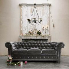 Velvet Grey Tufted Sofa Power Recliner Fabric Gray Couch With White Chippy Mantel For The Home