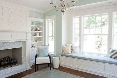 soft teal walls fireplace tile painted trim dark floors  For the home  Juxtapost
