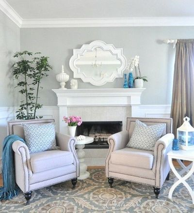 Light grey and blue living room. / For the home