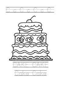 Tracing word cake worksheet. Cake coloring page for