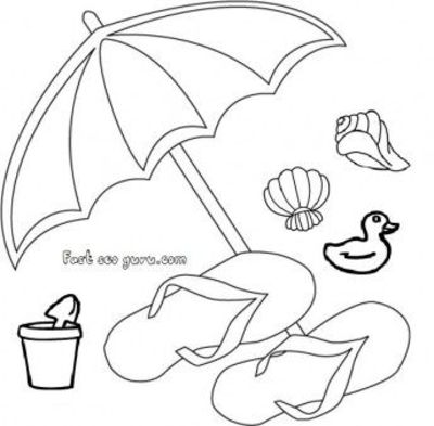 Free print out beach slippers and umbrella clip art for