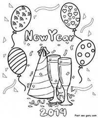 Free Printable happy new year 2014 clipart coloring pages